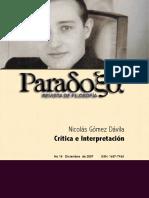 Revista de filosofía Paradoxa - Gómez Davila