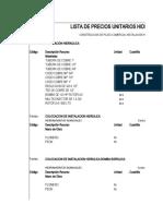 precios unitario hidraulicos
