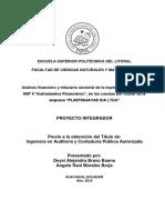 """Análisis financiero y tributario sectorial de la implementación dNIIF 9 """"Instrumentos Financieros"""", en las cuentas por cobrar dempresa """"PLASTIGUAYAS CIA LTDA"""""""