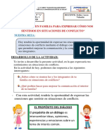 CLASE- COMUNICACIÓN- DIALOGAMOS EN FAMILIA PARA EXPRESARNOS COMO NOS SENTIMOS EN SITUACIONES DE CONFLICTO 25-05-2020