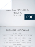 Business Matching Pricing Q1 2011