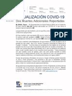 2020.05.26_COVID-19_Dos Muertes Adicionales Reportadas