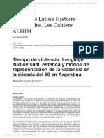 Tiempo de violencia. Lenguaje audiovisual, estética y modos de representación de la violencia en la década del 60 en Argentina