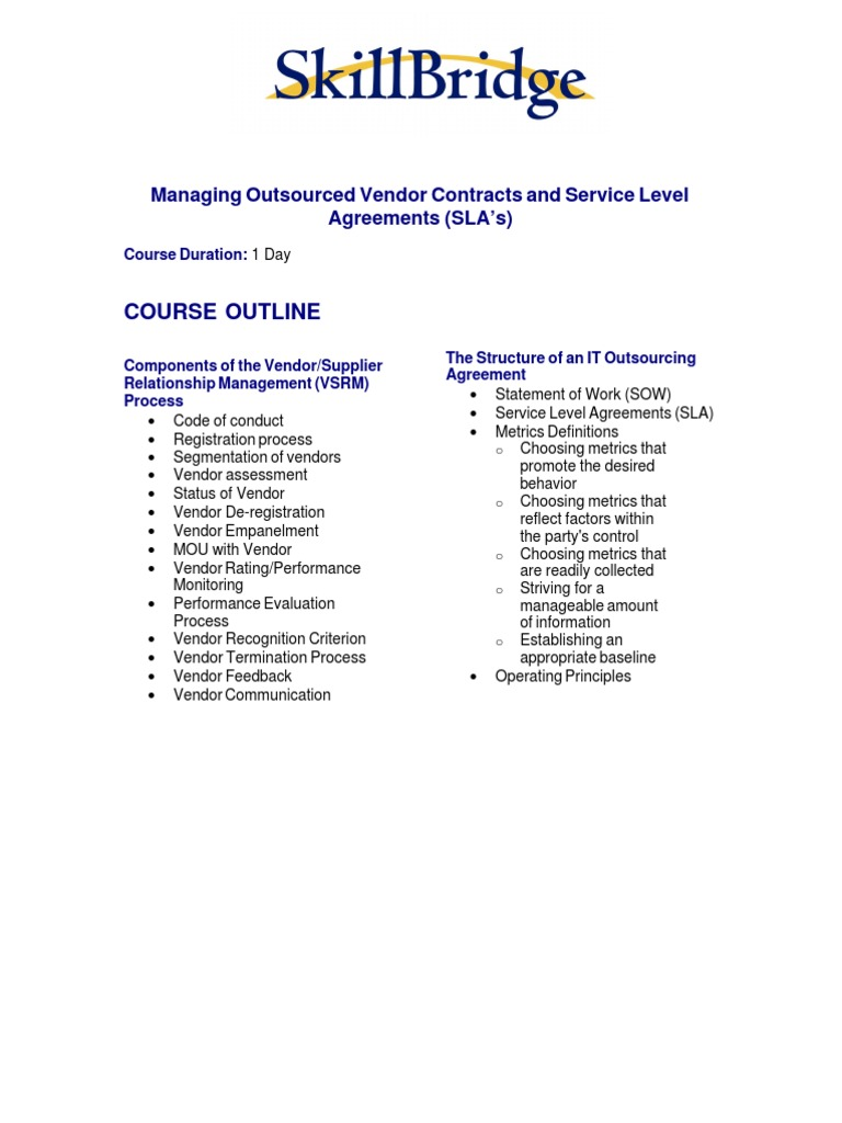 Managing Outsourced Vendor Contracts And Service Level Agreements
