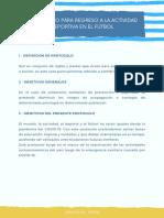 Protocolo para el regreso a la actividad deportiva en el fútbol