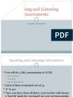 Speaking and Listening Assessments