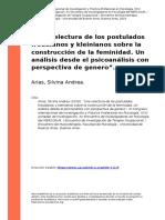 Arias, Silvina Andrea (2019). oUna relectura de los postulados freudianos y kleinianos sobre la construccion de la feminidad. Un analisis (..)