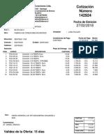 COTIZACION DE VTA  142924  - HEMBRAS BSP RECTAS