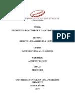 Elementos de control y cálculo del costo