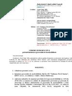 Cerere introductiva prvind intentarea procesului de insolvabilitate fata de debitor