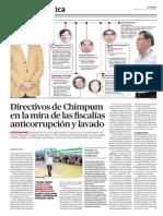 LR, Directivos de Chimpum en la mira de las fiscalías anticorrupción y lavado