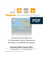 OneYear Followup Report-Transparency of Relief Organizations Responding to 2010 Haiti Earthquake