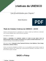 Cidades Criativas Unesco possibilidades