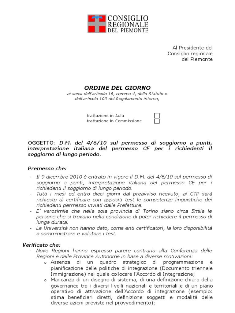 Ordine Del Giorno: OGGETTO: D.M. del 4/6/10 sul permesso di ...