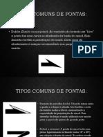 Tipos comuns de pontas de anzol