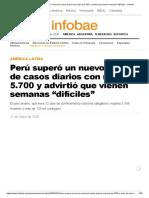 """Perú superó un nuevo récord de casos diarios con más de 5.700 y advirtió que vienen semanas """"difíciles"""" - Infobae"""