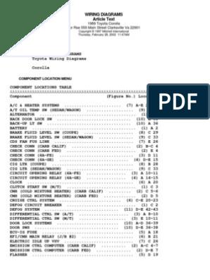 [DHAV_9290]  Toyora Corolla Wiring Diagram 1998 | Fuel Injection | Automotive Industry | 1998 Toyota Wiring Diagram |  | Scribd