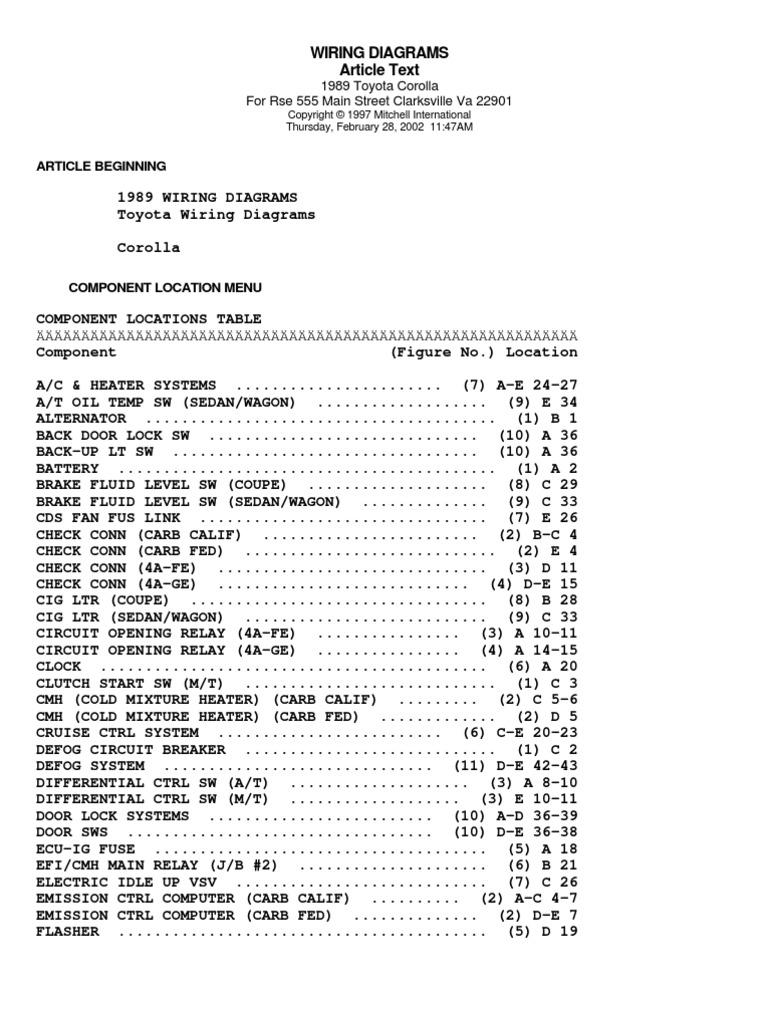 1989 Toyota Corolla Efi Wiring Diagram Electrical Diagrams 2014 Toyora 1998