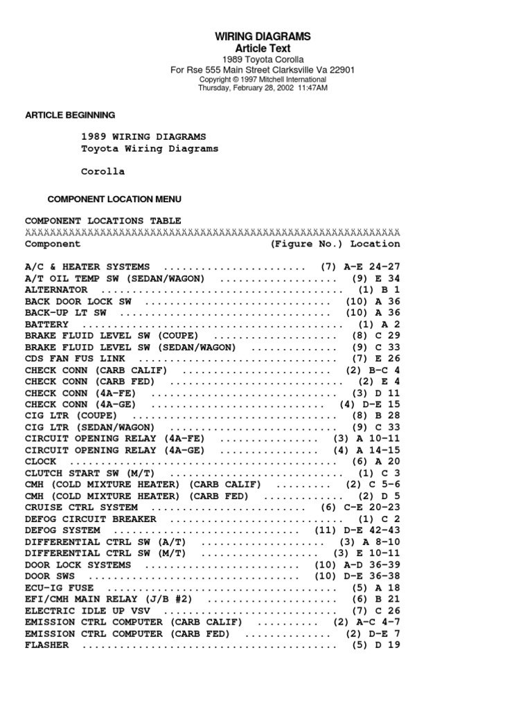Toyora Corolla Wiring Diagram 1998 Fuel Injection Technology Engineering