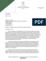 Letter, Gov. Whitmer to Dir. Clark (EGLE) (5.27.20)