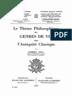 Joly, Le thème philosophique des genres de vie dans l'antiquité classique