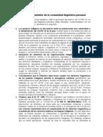 Pronunciamiento de la comunidad lingüística peruana