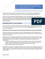 Pa. Restaurant Industry Guidance