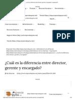 director, gerente y encargado - Diferencias