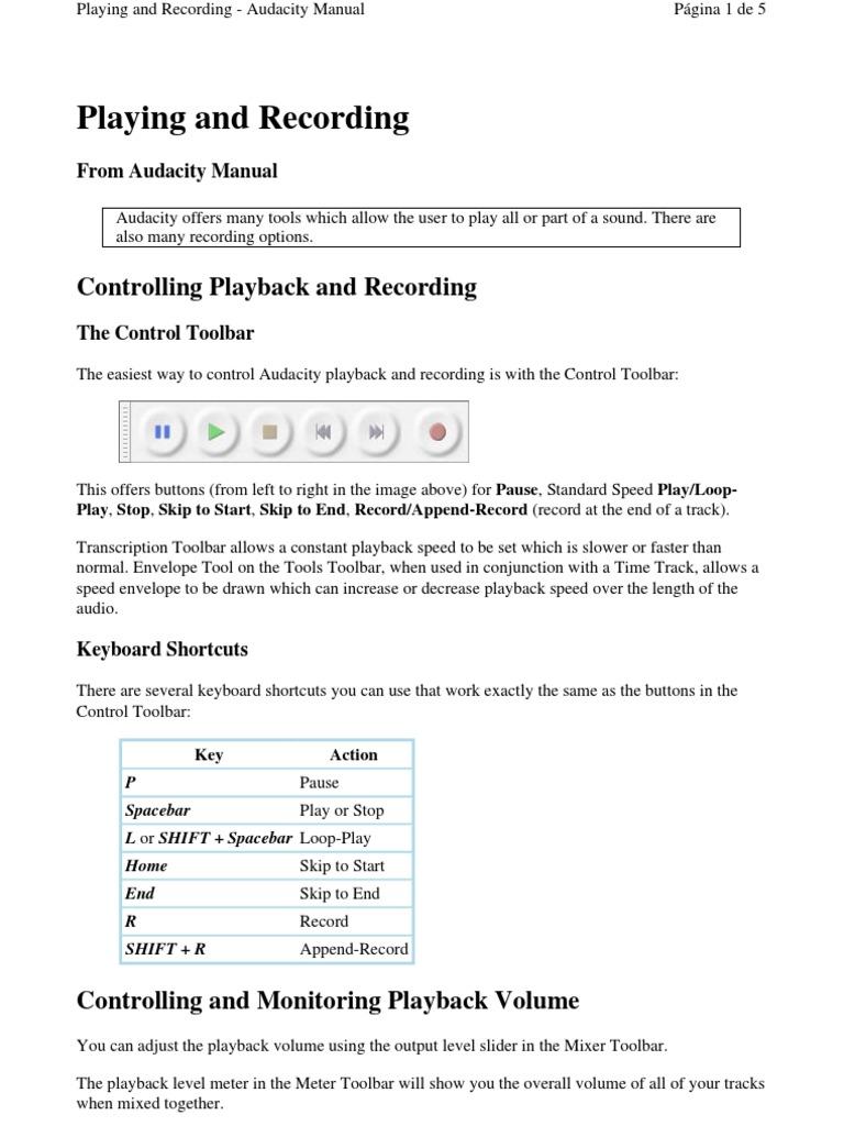Audacity | Computer Keyboard | Keyboard Shortcut
