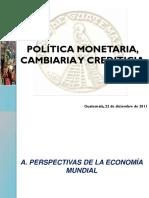POLÍTICA MONETARIA, CAMBIARIA Y CREDITICIA