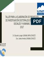 Taller Proyectos de investigación - Presentación PPT - Armella y Langer 2017
