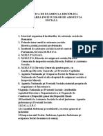 Tematica de Examen La Disciplina Organizarea Institutilor de Asistenta Sociala