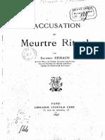 L'accusation du meurtre rituel -  S. Reinach