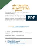 1 Indicadores de gestión Definición, elaboración e interpretación con ejemplo práctico