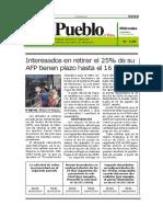 Retiro 25 Por Ciento Fondo Afp - Plazos - Autor José María Pacori Cari