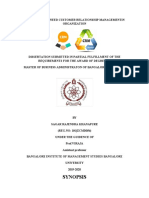 SYNOPSIS SAGAR PROJECT -A STUDY ON THE NEED OF CRM IN ORGANIZATON