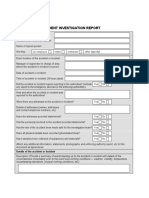 Incident accident form