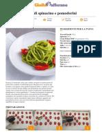 Troccoli al pesto di spinacino e pomodorini