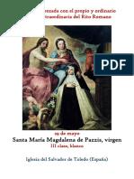 29 de Mayo.- Santa María Magdalena de Pazzis, virgen. Propio y Ordinario de la Santa Misa