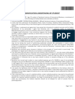 Indemnification Undertaking by Student