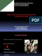 Correccion optica de los trastornos refractivos en niños