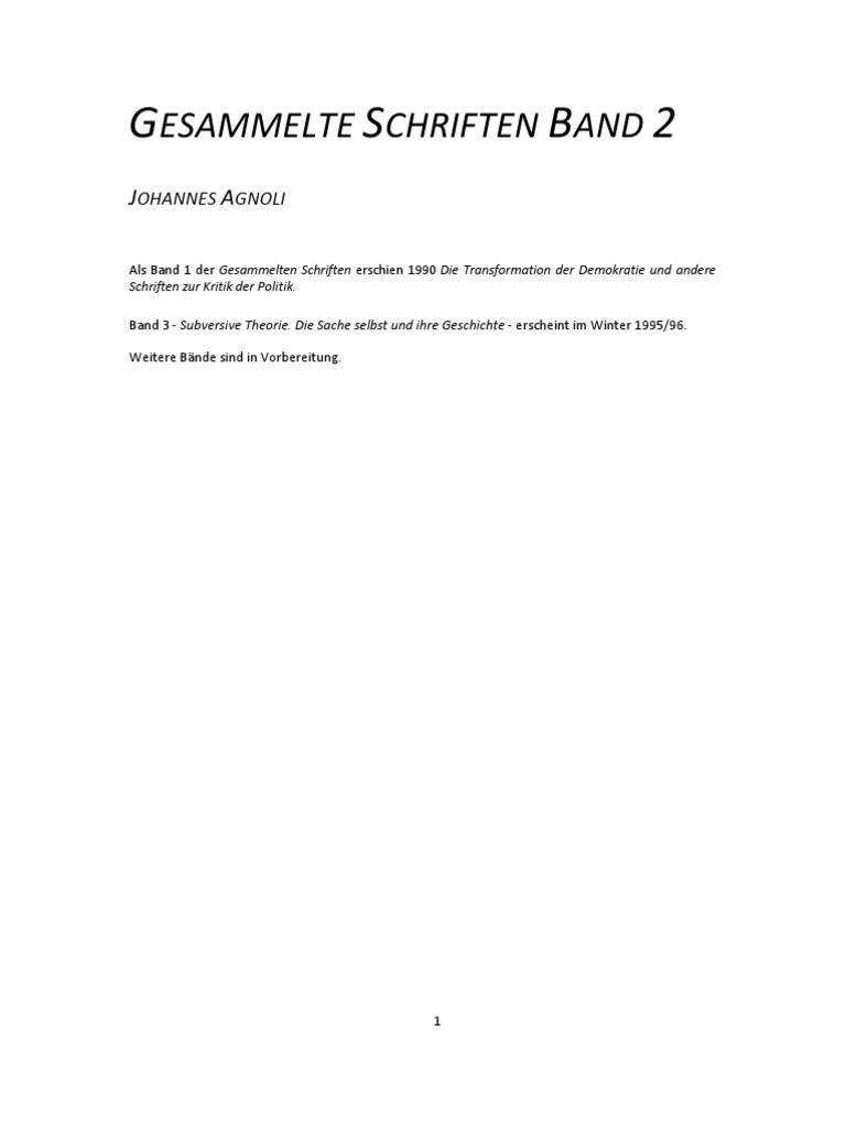 Johannes Agnoli Der Staat Des Kapitals