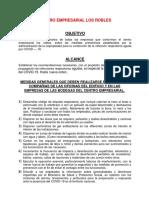 PROTOCOLO DE INGRESO Y PREVENCIÒN CENTRO EMPRESAERIAL LOS ROBLES