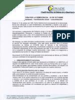 COMUNICADO CONADE _ MOVILIZACION POR LA DEMOCRACIA
