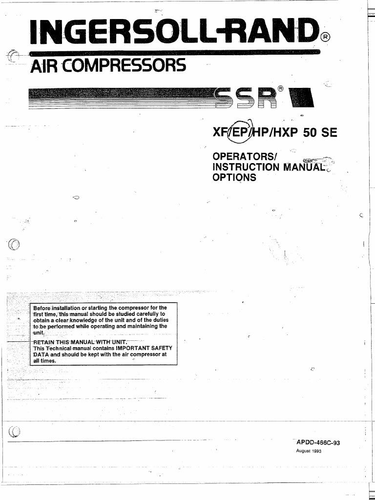 Ingersoll Rand Ssr Instruction Manual Xf Ep Hp Hpx 50 Se – Ingersoll Rand 185 Wiring Diagram