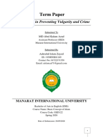 Role of Islam in preventing vulgarity and crime