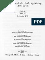Kriegstagebuch Der Seekriegsleitung 1939 - 1945. - Teil a ; Band 25. September 1941