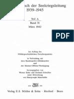 Kriegstagebuch Der Seekriegsleitung 1939 - 1945. - Teil a ; Band 31. März 1942