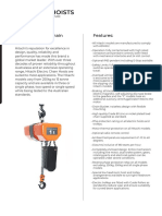 2020 Hitachi Electric Chain Hoist - Product Sheet