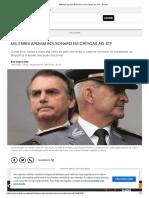 Militares apoiam Bolsonaro bolso 3